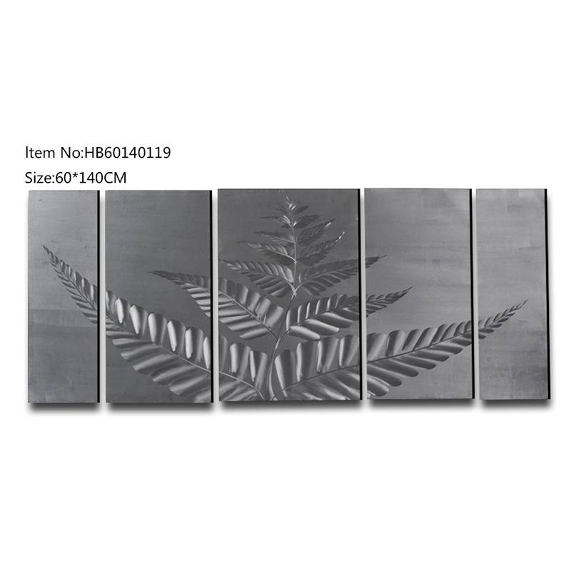 5 pieces large size tropical plant handmade metal oil painting modern wall arts