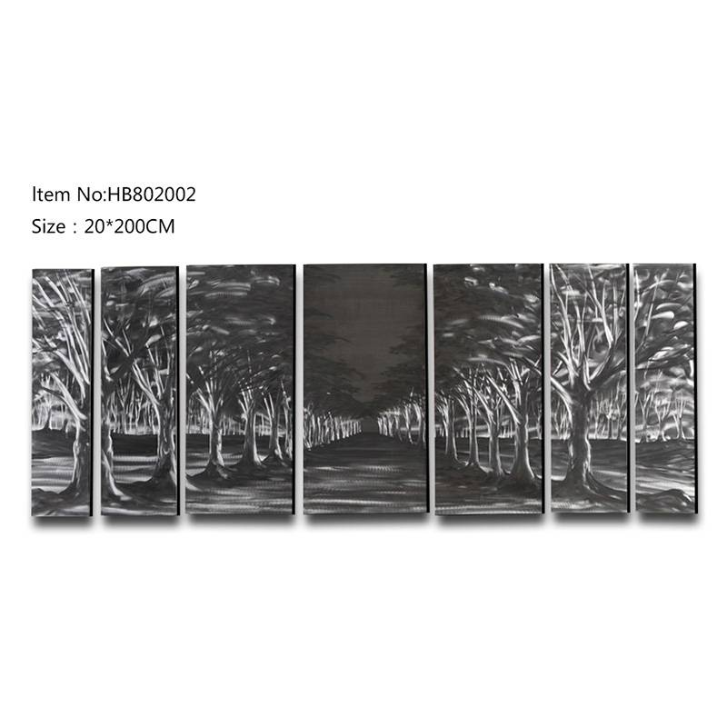 7 pieces forest handpaint 3D metal oil painting contemprory wall arts hanging