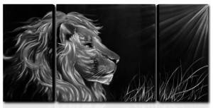 wholesale black silver lion 3D brush metal oil painting interior wall arts handicraft from China