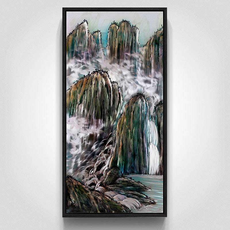 Mountain landscape 3D metal oil painting modern wall art decor 100% handmade