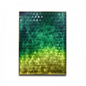 Abstract green yellow metal framed 3D braid metal oil painting modern wall artworks wholesale from China