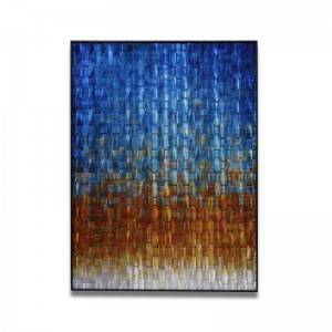 Abstract blue brown silver braid framed 3D metal oil painting wholesale from China factory