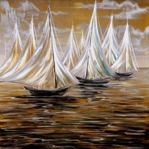 Sailing boat 3D metal oil painting modern  interior home wall art decor