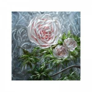 whole 3D metal oil painting handicraft pink rose flowers comtemprory wall arts decor