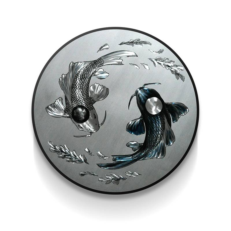Koi Fish 3D Circle Metal Oil Painting for Interior Modern Decoration Handicraft Wall Arts