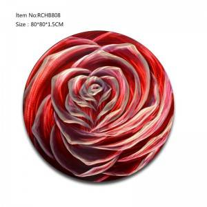 Rose red 3D circle metal oil painting wall arts handicrats