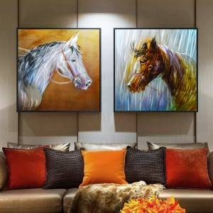 wholesale black white horse brush 3D metal oil painting interior modern wall arts decor 100% handmade