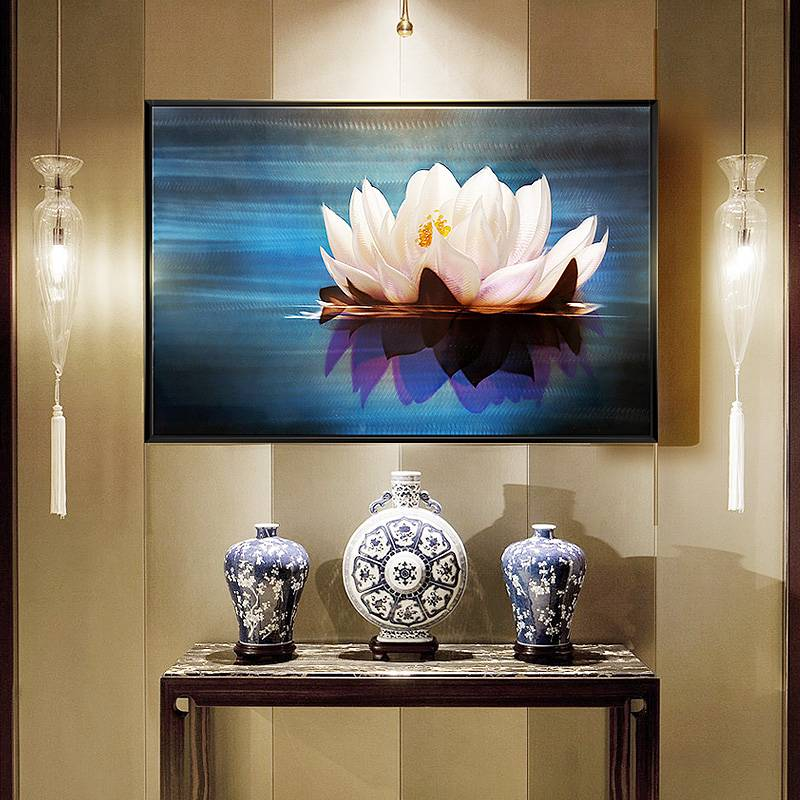 3D lotus flower metal oil painting wall arts interior decor 100% handmade Featured Image