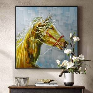 wholesale 3D brush brown horse oil painting modern interior wall arts handicraft decoration