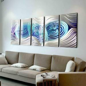 100% hand paint abstract blue swirl 3D metal oil painting for interior decor wall arts