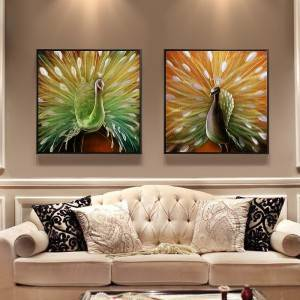 Peacock 3D metal oil painting modern home wall arts hangings decor wholesale from China factory