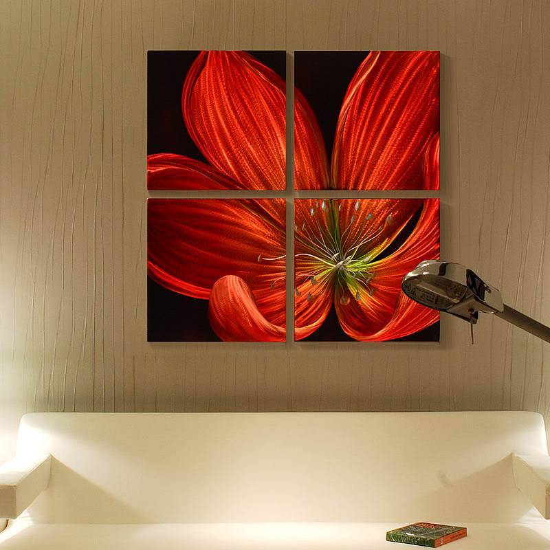 red flower blossom 3D metal oil painting modern home wall handicrafts wholesale from China factory