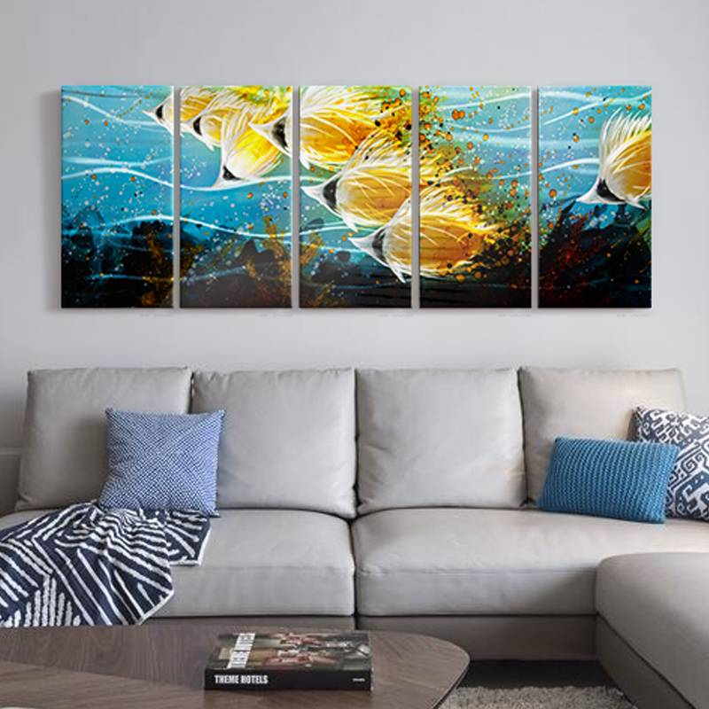 100% hand paint gold fish 3D metal oil painting for interior decor wall arts