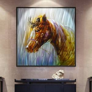 brown horse 3D brush metal oil painting modern home wall arts decor wholesale from China factory
