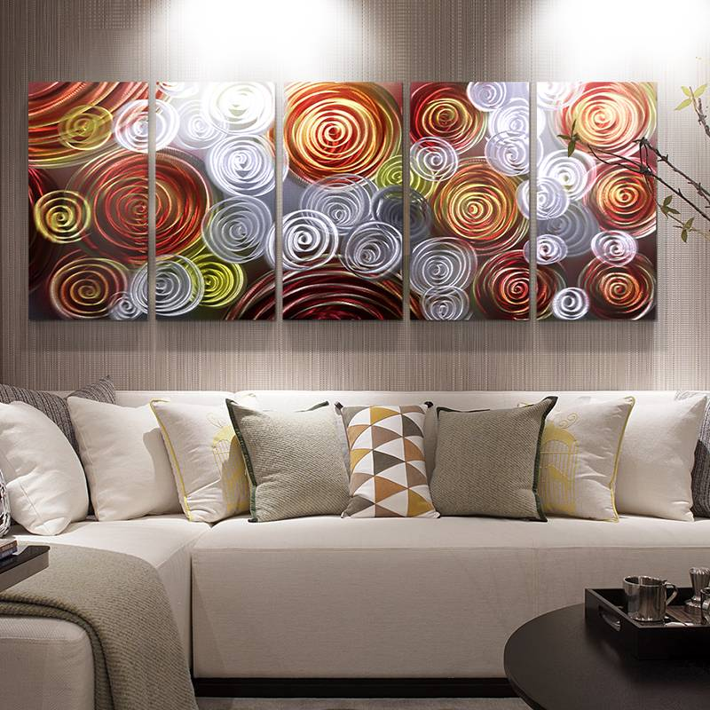 Abstract orange swirl 3D metal oil painting modern interior wall arts decor 100% handmade