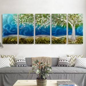 3D blue hopeful tree metal oil painting wall arts decor 100% handmade