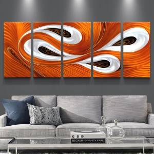 3D abstract swirl orange metal oil painting wall arts decor 100% handmade