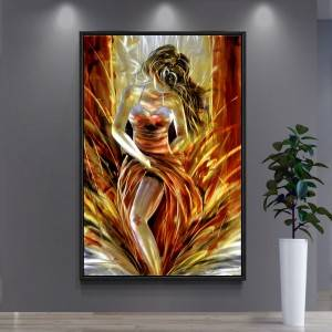 100% hand paint hot lady 3D metal oil painting for interior decor wall arts