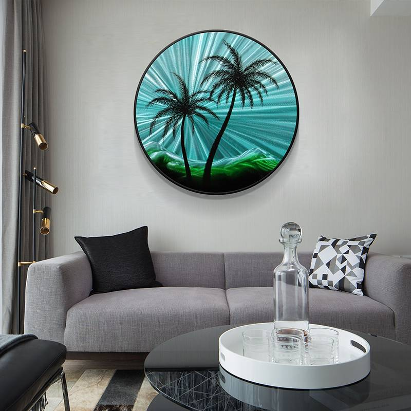 Coconut Tree Circle 3D Blue Metal Oil Painting for Modern Interior Home Decoration Wall Arts