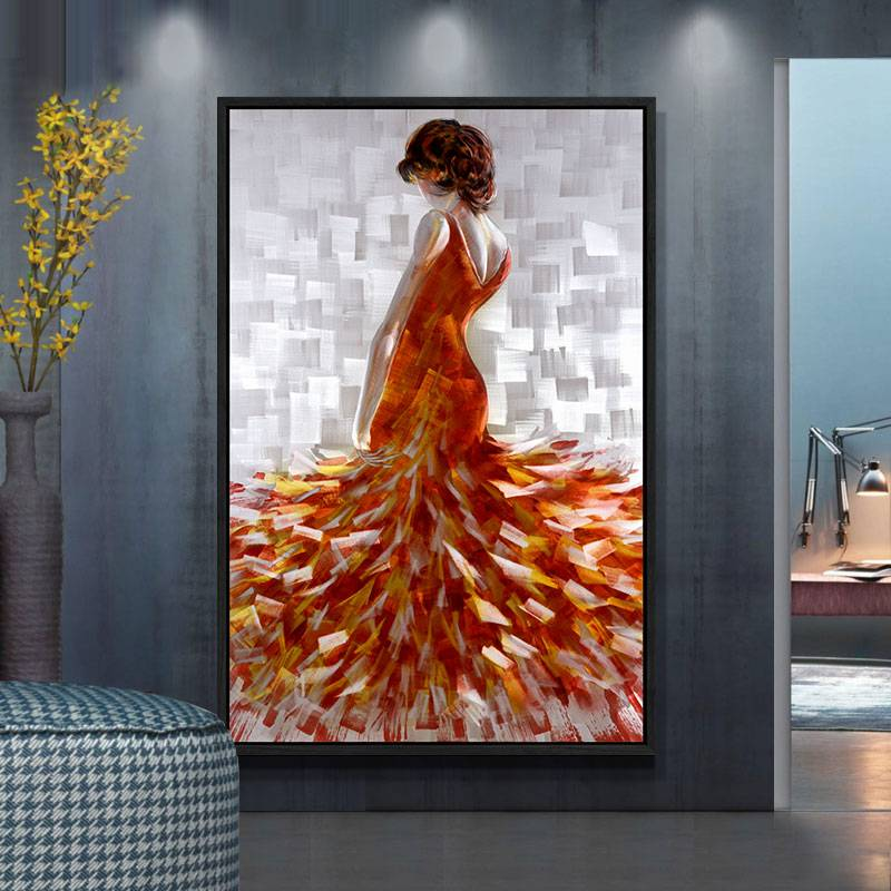 100% hand paint elegant lady 3D metal oil painting for interior decor wall arts Featured Image