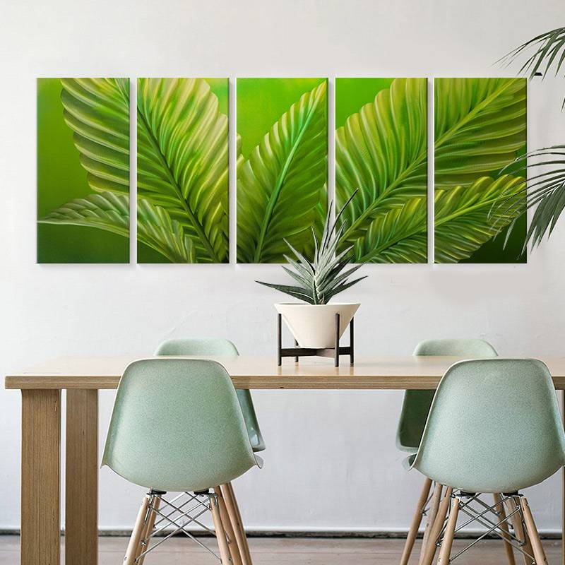 100% hand paint green leaf 3D metal oil painting for interior decor wall arts