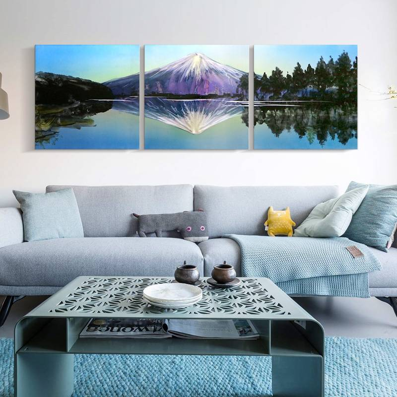 3D mountain Fuji metal oil painting wall arts decor 100% handmade