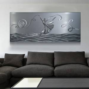 ballet dancer 3D metal oil painting handicraft modern interior wall arts decoration for sale