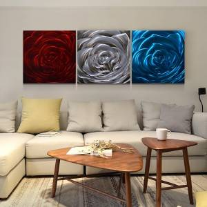 wholesale flower rose 3D metal oil painting handicraft for interior home modern wall art decor