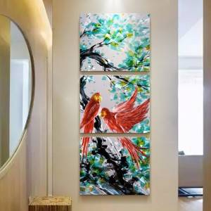 3D parrot animal metal oil painting wall arts decor 100% handmade