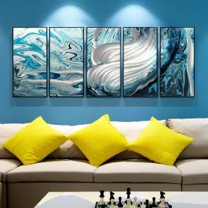 3D abstract blue metal oil painting wall arts interior decor 100% handmade