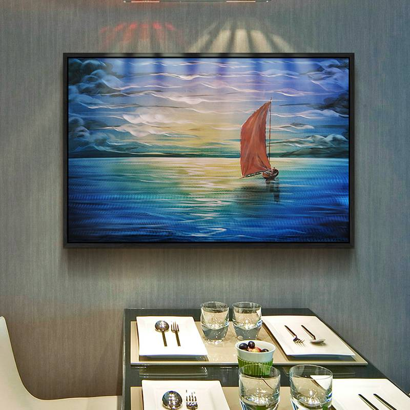 100% hand paint sailing boat 3D metal oil painting for interior decor wall arts