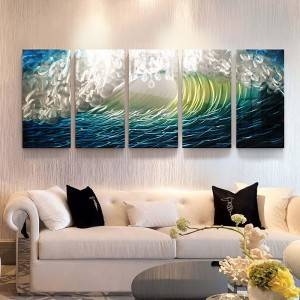 100% hand paint blue seawave 3D metal oil painting for interior decor wall arts