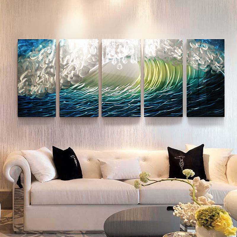 100% hand paint blue seawave 3D metal oil painting for interior decor wall arts Featured Image