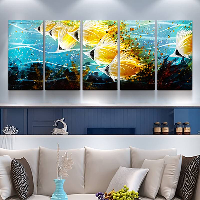 100% hand paint gold fish 3D metal oil painting for interior decor wall arts Featured Image
