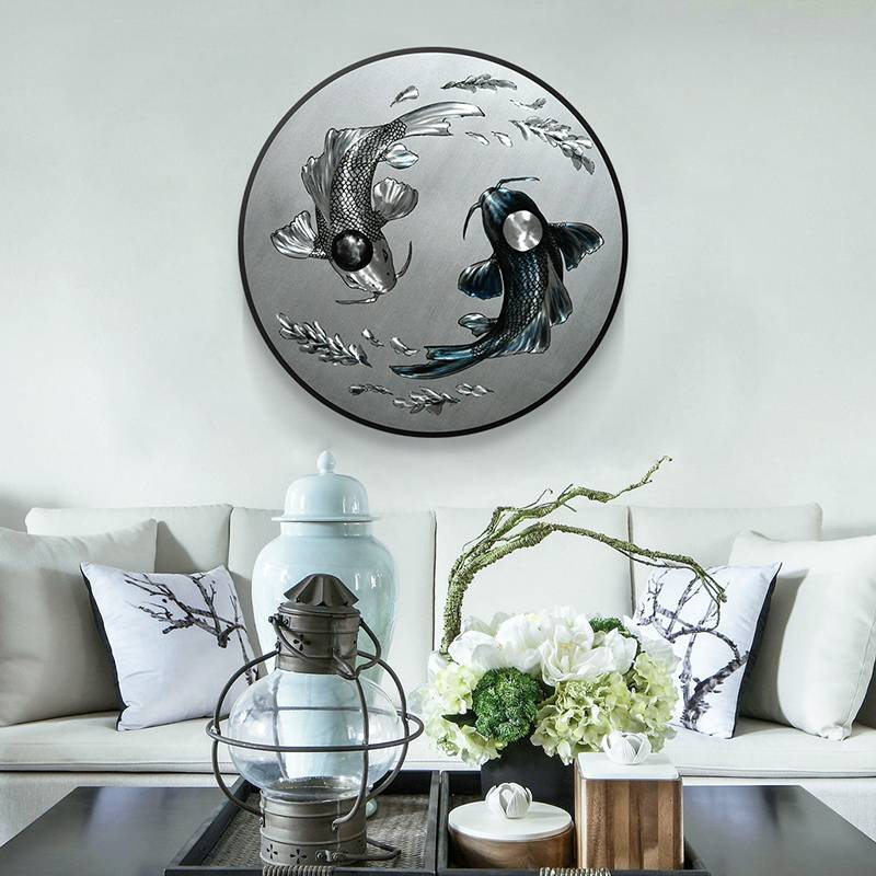 Koi Fish 3D Circle Metal Oil Painting for Interior Modern Decoration Handicraft Wall Arts Featured Image