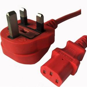UK C13 red colour power cord