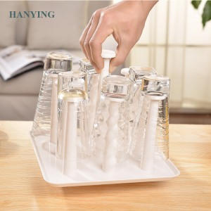 Freedi Plastic Glass Cup Rack Water Mug Drain Dry Organizer Drying Rack Holder Stand Nine Cups Home Kitchen Supplies
