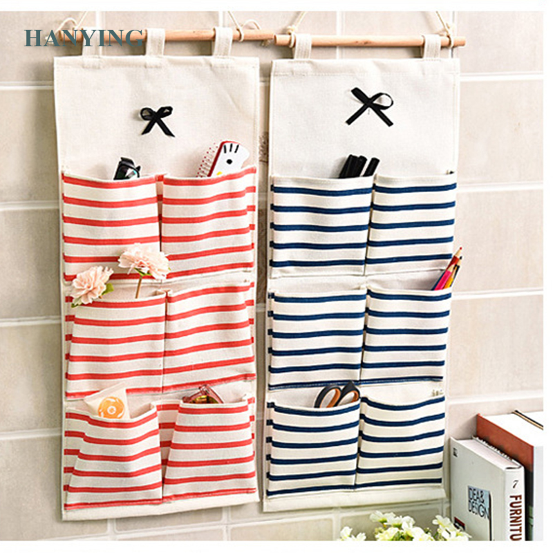 6/8 Grids Multilayer Storage Bag Linen Fabric closet Organizer Wall Hanging For Room Door Closet