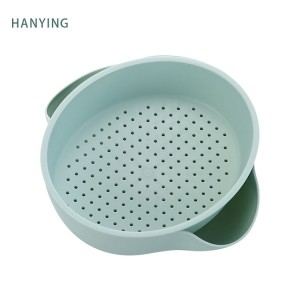 Multyfunksjoneel Double-wall Water Filtration Drain Basket Wash Fruits en Vegetables Plastic Wassen Basket