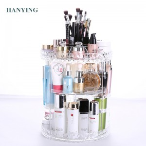 Wholesale Crystal Morden Spinning Rotating Makeup Stand Organizer Cosmetic Bedroom Storage Display Rack