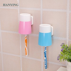 Unique bathroom plastic Wall Mount Paste Snap type Gargle Cup Toothbrush cup