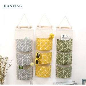 Linen Cotton Fabric Storage Bag Wall Door Closet Hanging Storage Bag 3 Pockets Organizer for Room Bathroom Wash Toiletries