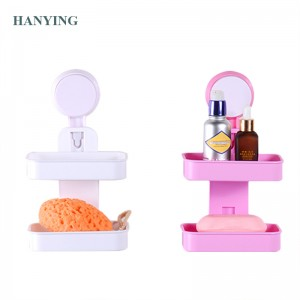 Double Suction Cup Bathroom Soap Rack Plastic Holder