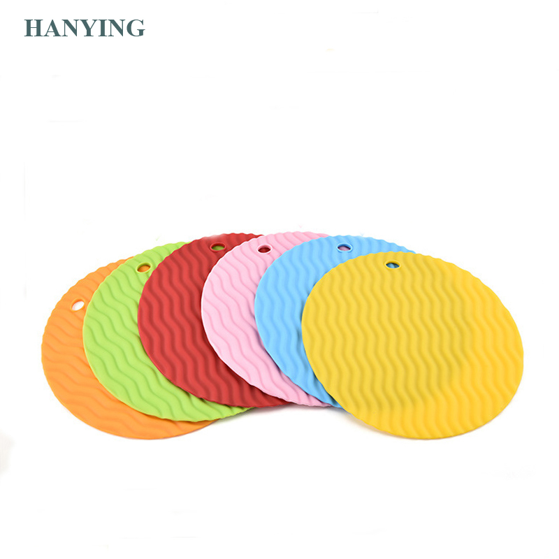 Wave pattern round silicone place mat anti-hot insulation pad kitchen waterproof table anti-slip pot mat cup mat