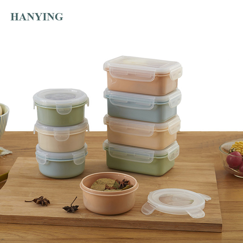 Portable Mini Bento Plastic Refrigerator Fresh Food Storage Boxes Sealed Boxes Small Lunch Picnic Box No insulation