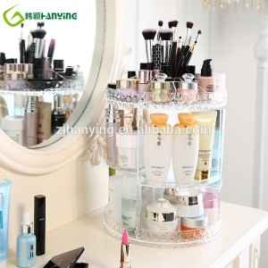 multi transparent rotary plastic cosmetic storage box 360 rotation makeup organizer acrylic cosmetic storage box