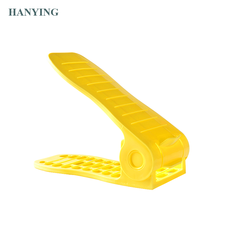 Adjustable Shoe Organizer Set Storage Space Saving Shoe Slots Rack Holder Double Layers Plastic Shoe Slots for Home