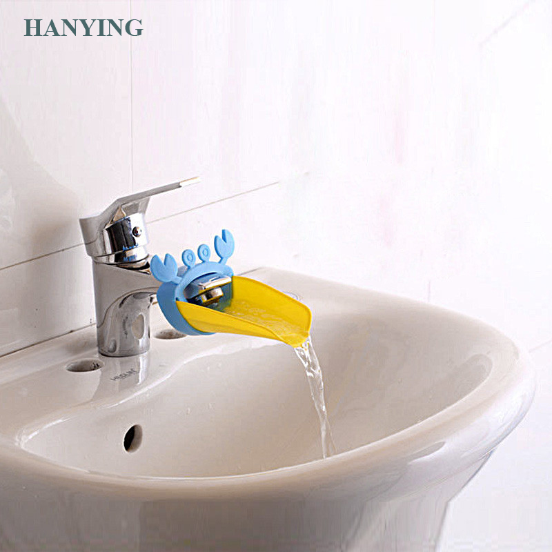 Cute Bathroom Sink Faucet Chute Extender Crab Children Kids Kitchen Washing Hands Convenient For Baby Washing Helper