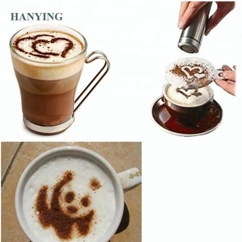 16pcs Coffee Stencil Filter Coffee Maker Cappuccino Barista Mold Templates Strew Flowers Pad Spray Art Coffee Tools
