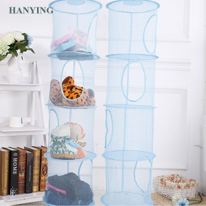 Wholesale fashion modern home storage toy socks storage four-layer mesh folding basket storage bag